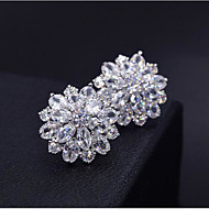 Women's AAA Cubic Zirconia Stud Earrings 3D Flower Sweet Fashion Platinum Plated Imitation Diamond Earrings Jewelry Silver For Daily Work 1 Pair
