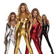 cheap -Zentai Suits Catsuit Skin Suit Ninja Adults' Spandex Latex Cosplay Costumes Sex Men's Women's Black / Golden / Purple Solid Colored Christmas Halloween Masquerade / High Elasticity