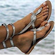 저렴한 -여성용 샌들 보호 플랫 둥근 발가락 PU 여름 골드 / 실버