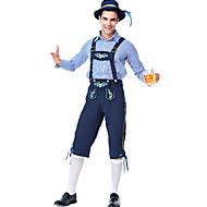 Oktoberfest Beer Outfits Lederhosen Men's Blouse Pants Bavarian Costume Blue