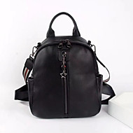 Large Capacity Cowhide Zipper Commuter Backpack Daily Black / Fall & Winter