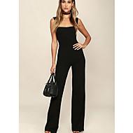 Women's Black Wide Leg Jumpsuit Onesie, Solid Colored S M L