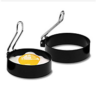 cheap -Nonstick Stainless Steel Handle Round Egg Rings Shaper Pancakes Molds Ring Round Egg Fried Molds Kitchen Tools Egg Cooker