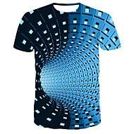 billige -Herre T-shirt Grafisk 3D Print Toppe Gade Punk & gotisk Rund hals Sort Blå Lilla / Kortærmet / Sommer