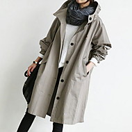 Women's Trench Coat Daily Basic Hooded Long Solid Colored Black / Gray M / L / XL