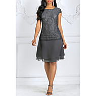 Women's Plus Size Sheath Dress - Solid Colored Lace Summer Lace Gray S M L XL
