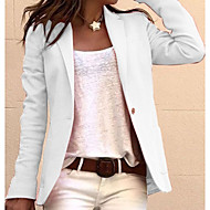 Women's Blazer, Solid Colored Notch Lapel Polyester Black / White / Blushing Pink