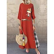 Women's Basic A Line Dress - Geometric Blue Red Green L XL XXL XXXL