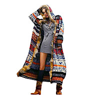 Women's Daily Long Trench Coat, Geometric Hooded Long Sleeve Polyester Rainbow