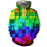 Men's Plus Size Casual / Street chic Hoodie - Polka Dot / Color Block / 3D Hooded Rainbow US32 / UK32 / EU40