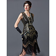 cheap -The Great Gatsby Charleston Vintage 1920s Flapper Dress Cocktail Dress Ball Gown Women's Sequins Tassel Sequin Costume Black / Golden / Golden+Black Vintage Cosplay Party Homecoming Prom Sleeveless