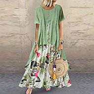 お買い得  -女性用 ツーピースドレス マキシドレス - 半袖 フラワー 多層式 ボタン プリント 夏 プラスサイズ カジュアル 祝日 バケーション ルーズ 2020 パープル イエロー ピンク オレンジ グリーン M L XL XXL XXXL XXXXL XXXXXL
