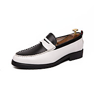 Men's Leather Shoes Nappa Leather Spring & Summer Loafers & Slip-Ons Black / Black and White / Black / White