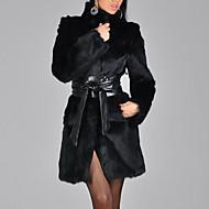 Women's Going out Winter Long Fur Coat, Solid Colored Turtleneck Long Sleeve Faux Fur Black