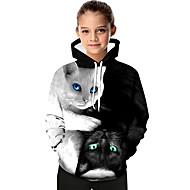 كنزة بقبعة كم طويل طباعة هندسي / طباعة / ألوان متناوبة أسود و أبيض / قطة رياضي Active / أساسي للفتيات أطفال / طفل صغير / حيوان