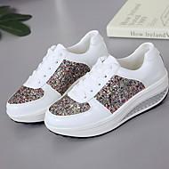ราคาถูก -สำหรับผู้หญิง รองเท้าผ้าใบ ส้นแบน ปลายกลม Synthetics สำหรับวิ่ง ฤดูร้อน ขาว / สีทอง / สีเงิน