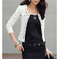 Women's Daily Basic Short Jacket, Solid Colored Collarless Long Sleeve Polyester Rivet White / Black