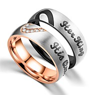 Couple's Couple Rings Ring 1pc Black Rose Gold Stainless Steel Circular Vintage Basic Fashion Promise Jewelry Crown Cool