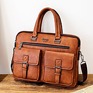 Men's Zipper PU Briefcase Solid Color Black / Brown / Dark Brown