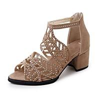 저렴한 -여성용 샌들 크리스탈 샌들 청키 굽 뾰족한 발가락 스웨이드 여름 아몬드 / 블랙