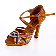 Women's Dance Shoes Satin Latin Shoes Crystals / Crystal / Rhinestone Heel Flared Heel Customizable Brown / Performance / Leather / Practice