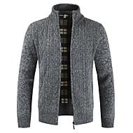 Men's Solid Colored Long Sleeve Cardigan Sweater Jumper, Stand Light gray / Blue / Red US36 / UK36 / EU44 / US38 / UK38 / EU46 / US40 / UK40 / EU48