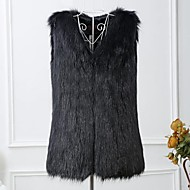 Women's Daily / Going out Fall / Winter Regular Vest, Solid Colored Collarless Sleeveless Faux Fur Black