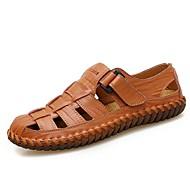 저렴한 -남성용 편안한 신발 여름 캐쥬얼 / 로마 신발 일상 샌들 워킹화 가죽 통기성 옐로우 / 브라운 / 블랙