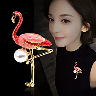 Women's Brooches Tropical Flamingo Luxury Elegant Colorful Pearl Gold Plated Brooch Jewelry Red and Pink White / Pink For Wedding Engagement Gift Work Promise