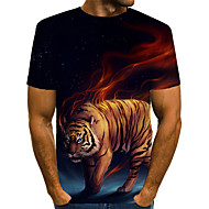 Men's Casual / Daily Bar Street chic / Exaggerated EU / US Size T-shirt - Color Block / 3D / Animal Tiger, Print Round Neck Rainbow / Short Sleeve