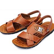 ราคาถูก -สำหรับผู้ชาย รองเท้าสบาย ๆ ฤดูร้อน ไม่เป็นทางการ / รองเท้าโรมัน ทุกวัน รองเท้าแตะ วสำหรับเดิน หนัง ระบายอากาศ สีเหลือง / สีน้ำตาล / สีดำ / ของประดับด้วยลูกปัด