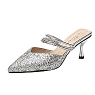 Women's Clogs & Mules Flared Heel Pointed Toe PU Summer Gold / Silver