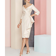 Sheath / Column Plunging Neck Knee Length Satin Mother of the Bride Dress with Sash / Ribbon / Ruching by LAN TING Express