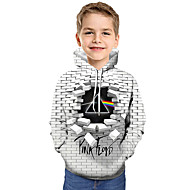 preiswerte -Kinder Baby Jungen Aktiv Grundlegend Geometrisch Druck Einfarbig Druck Langarm Kapuzenpullover Weiß