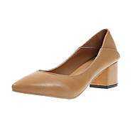 Women's Heels Chunky Heel Pointed Toe PU Summer Black / Beige / Khaki