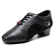 cheap -Men's Dance Shoes Nappa Leather Dance Sneakers Oxford / Sneaker Thick Heel Customizable Black / Performance / Practice