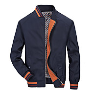 Men's Daily Regular Jacket, Solid Colored Stand Long Sleeve Polyester Wine / Khaki / Royal Blue