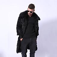 Homens / N / D Para Noite Inverno Longo Casaco de Pêlo, Sólido Aberto para a Lateral Manga Longa Pêlo Sintético Preto / Amarelo
