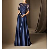hesapli -A-Şekilli Zarif Mavi Düğün davetlisi Resmi Akşam Elbise Kayık Yaka Yarım Kol Yere Kadar Dantelalar Streç Saten ile Fiyonk Aplik 2020