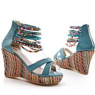 Women's Sandals Wedge Sandals Summer Wedge Heel Round Toe Daily PU Almond / Pink / Orange