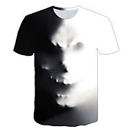 Herr T-shirt 3D Grafisk Dödskalle Tryck Blast Streetchic drivna Rund hals Grå / Kortärmad / Sommar