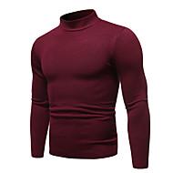 Men's Solid Colored Long Sleeve Slim Pullover Sweater Jumper, Turtleneck Fall / Winter Black / Wine / White US32 / UK32 / EU40 / US34 / UK34 / EU42 / US36 / UK36 / EU44