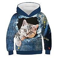 Kids Girls' Active Street chic Cat Print 3D Animal Print Long Sleeve Hoodie & Sweatshirt Blue