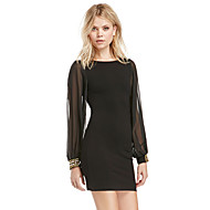 Women's Street chic Bodycon Dress - Solid Colored Mesh Black XS S M L
