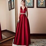 A-Line V Neck Maxi Satin Bridesmaid Dress with Beading by LAN TING Express