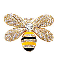Women's Brooches Sculpture Bee Luxury Trendy Sweet Elegant Colorful Imitation Diamond Brooch Jewelry Gold Silver For Wedding Gift Street Promise