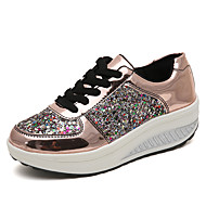 Women's Sneakers Flat Heel Round Toe Sequin Patent Leather / PU British Walking Shoes Spring / Fall & Winter White / Champagne / Silver / Color Block