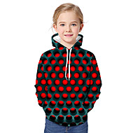 Kids Toddler Girls' Active Basic Geometric Print Color Block Print Long Sleeve Hoodie & Sweatshirt Red