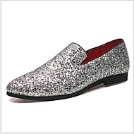 Men's Moccasin Microfiber Summer Loafers & Slip-Ons Warm Black / Gold / Silver / Sparkling Glitter / Sequin