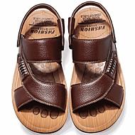 저렴한 -남성용 편안한 신발 여름 캐쥬얼 일상 샌들 워킹화 가죽 통기성 옐로우 / 브라운 / 블랙 / 리벳